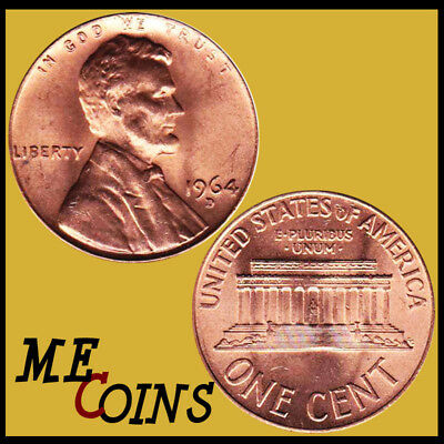 1964 Lincoln Memorial Cent Penny , GEM BU Red , US Coin , Free Shipping!