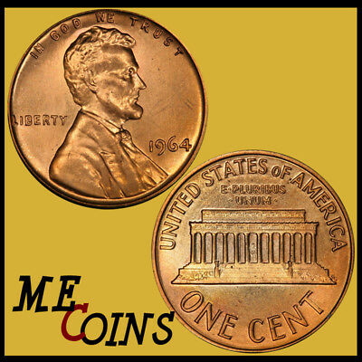 1964 D Lincoln Memorial Cent Penny , GEM BU Red , US Coin , Free Shipping!