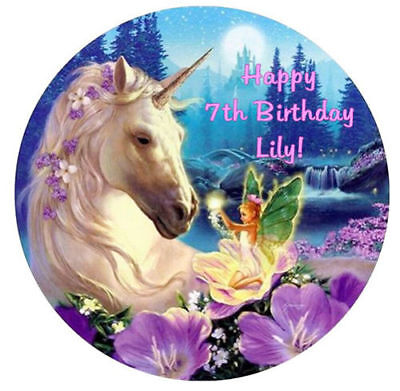Unicorn And Fairy Edible Premium Icing Party Cake Decoration Image Topper