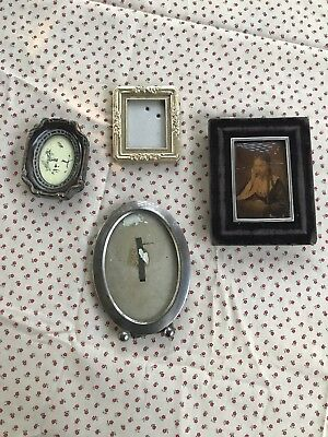 Lot of 4 Vintage Antique Small Mini Picture Frames
