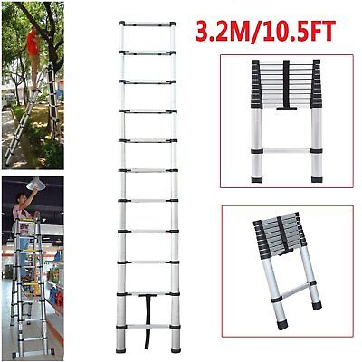 3.2m Multi Purpose Aluminium Telescopic Ladder Extension Extendable 11 Steps