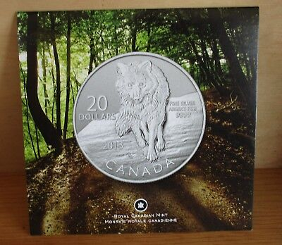 """Canada - 2013 $20 """"Wolf"""" (20 for 20 #8 in series) 1/4 OZ Silver Coin NEW"""