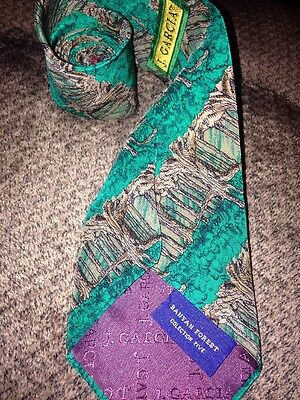 J Garcia Banyan Forest Collection Five Tree Tie 100% Silk Abstract Made in USA