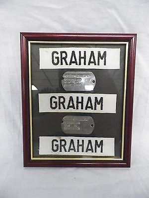 Framed WWII Dog tags & Name Patches Raymond H. Graham US55592169