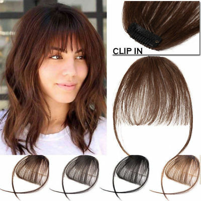 Women Clip In Real Remy Human Hair Extensions Thin Air Bang Fringe Hairpiece