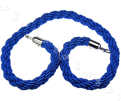 Queue Divider Crowd Control Stanchion Blue Twisted Barrier 1.5M Rope