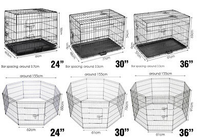 """24"""" 30"""" 36"""" Kennel Dog Metal Fence Puppy Tray Pet Playpen Cage"""