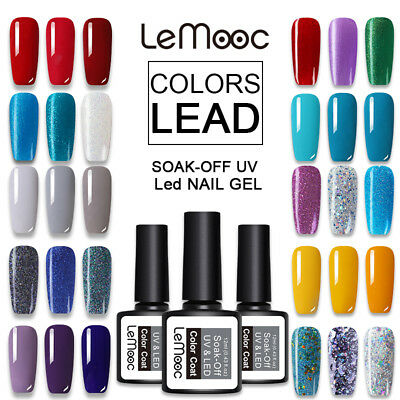 12ML LEMOOC Glitter UV LED Gel Polish Glimmer Sequins Nail Soak Off Gel Varnish