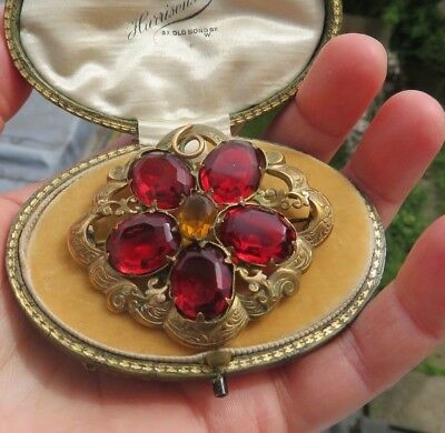 Antique Georgian Early Victorian Pinchbeck & Garnet Citrine Paste Flower Brooch
