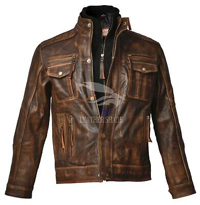 Men's Motorcycle Biker Vintage Distressed Brown Cafe Racer Real Leather Jacket