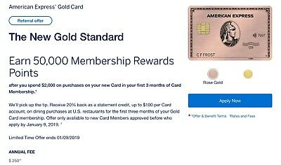 Amex Gold Card Referral up to 58k points+ $100 Food Credit+ extra $50 from me