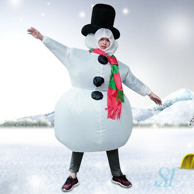 Funny Adult Inflatable Frosty Snowman Xmas Costume Christmas Fancy Dress Outfit