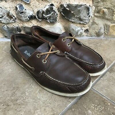 TIMBERLAND Deck Boat Shoes Mens Size 8.5 UK Brown Leather Lace Up Casual