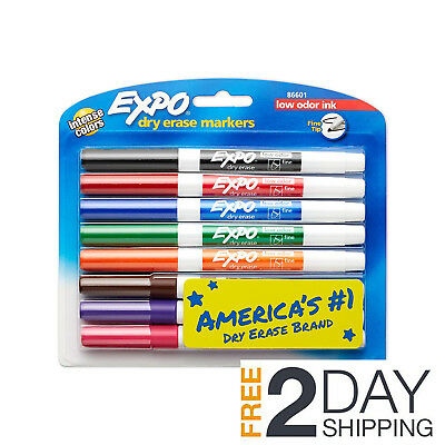 EXPO Low-Odor Dry Erase Marker, Fine Tip, Assorted Colors, 8 Count, Kid Friendly