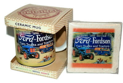 Ford Fordson Tractor Mug & Coaster Set in marble and ceramic Gift Box Farming