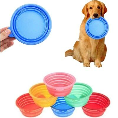 Pet Dog Cat Portable Feeding Food Water Bowl Dish Silicon Foldable Travel Feeder
