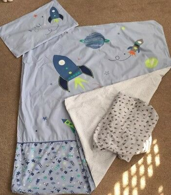 Mothercare Rockets Cotbed Duvet Cover Set Includes Fitted Sheet