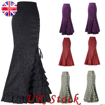 Women Vintage Gothic Victorian Fishtail Hight Waist Skirt Lady Ruffle Maxi Dress