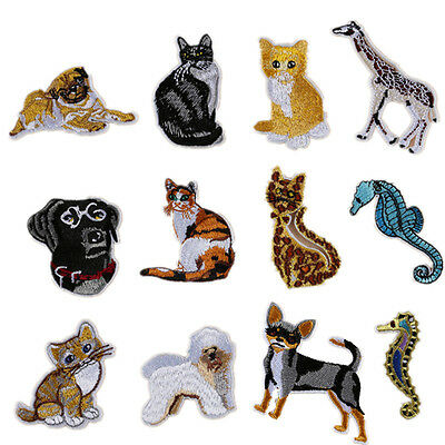 Iron On Patches Lot Dog Cat Seahorse Embroidered Animal Patch Accessories