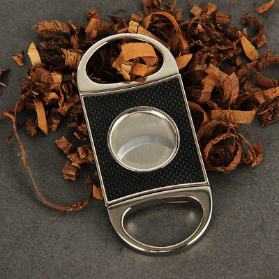 CIGARISM Real Carbon Fiber Stainless Steel Cigar Cutter Punch Gift Box
