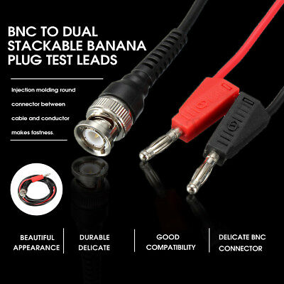 New BNC Q9 To Dual 4mm Stackable Banana Plug Socket Test Leads Probe Cable 120CM