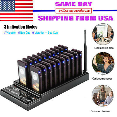 20 Restaurant Coaster Pager Guest Call Wireless Paging Queuing Calling System US