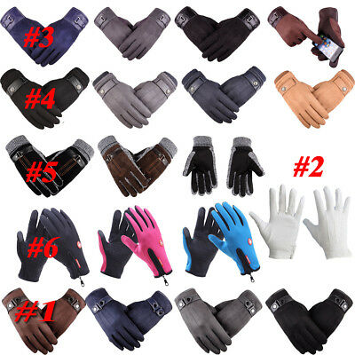 Men Lady Touch Screen Leather Gloves Thermal Liner Driving Winter Warm Windproof