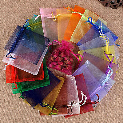 100x Organza Gift Bags Voile Jewellery Packing Pouches Wedding Party Favour