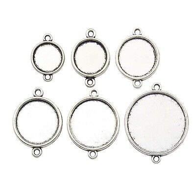 36 Blank Round Connector Pendant Trays,Fit 12-25mm Cabochon, Base Setting Bezel