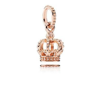 Authentic PANDORA 925 new Rose GOLD CROWN Dangle CHARM 781376