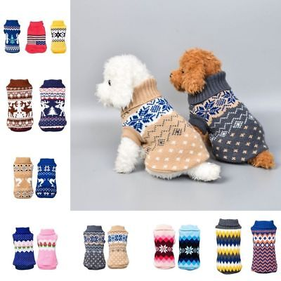 1pc Small Medium Dog Jumper Knitted Chihuahua Pet Clothes Sweater Xmas Costume