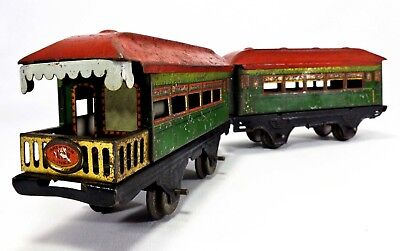 1930's Vint Pair American Flyer Lines Litho Tin Toy O Gauge Train Passenger Cars