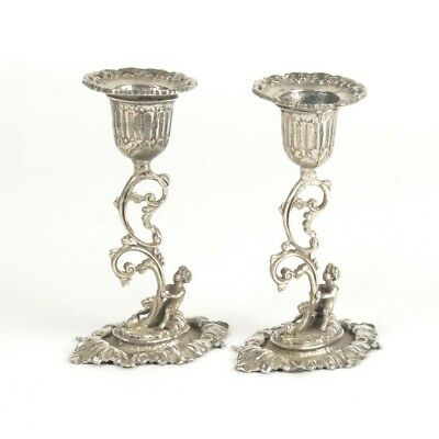 Pair 800 silver candlesticks Continental figural putti motif antique