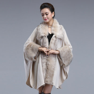 Women's Faux Fur Shawl Coat Fashion Knit Cardigan Shawl Cloak Wrap Outwear