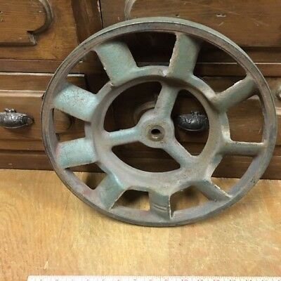 """Large Vintage industrial steampunk cast iron gear pulley lamp base table 14"""""""