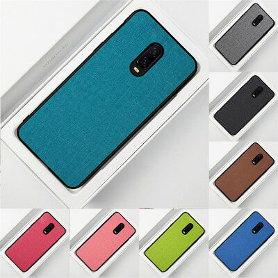 For OnePlus 6 6T Slim Gel Rubber Fabric Hybrid Soft TPU Case Shockproof Cover