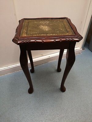 Small Mahogany Wine Table,Side Table With Green Leather And Gilt Tooled Work