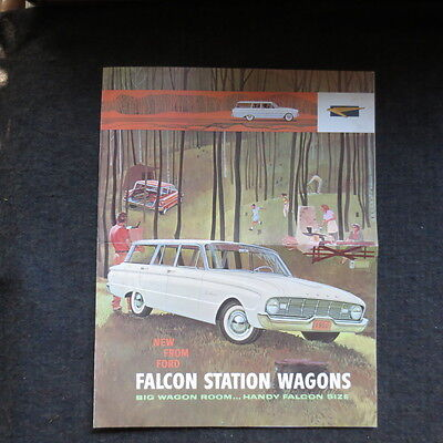 1960 Ford Falcon station wagons fold out brochure Canadian market