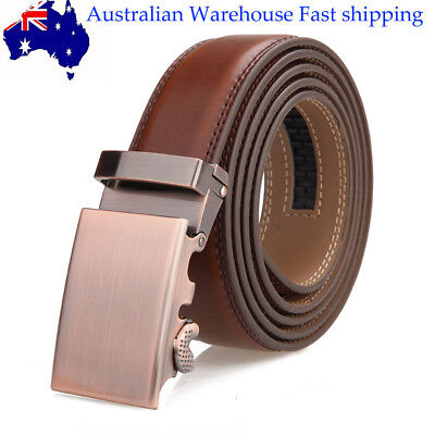 Men's Brown  Simple Business Leather Belt Automatic Buckle Waist Strap