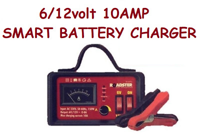 6V/12V 10Amp Smart Battery Trickle Automatic Charger Caravan Motorcycle
