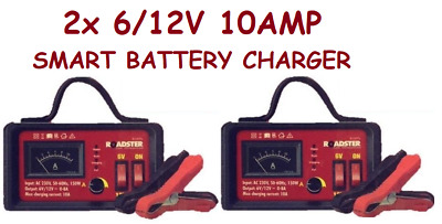 2x 6V/12V 10Amp Smart Battery Trickle Automatic Charger Caravan Motorcycle