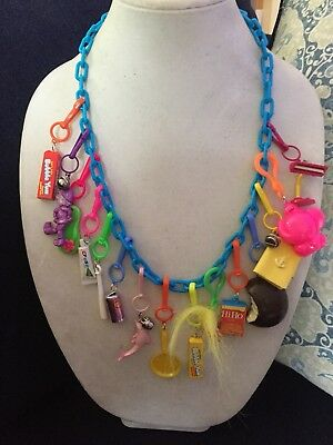 Vintage New Plastic 80's Bell Charm Necklace Retro Clip On 1980 Notebook Dolphin