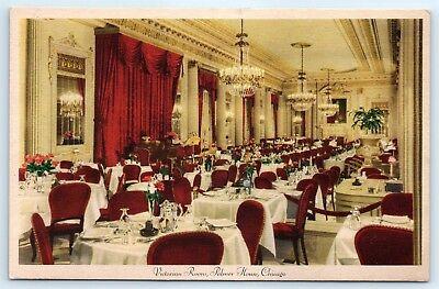 Postcard IL Chicago Palmer House Hotel Victorian Room Vintage View E6