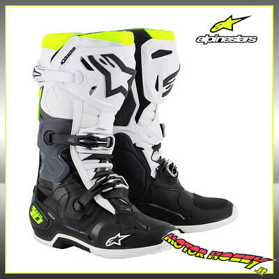 Stivali Cross Enduro Alpinestars Tech 10 Black White Yellow Fluo Taglia 42  2019