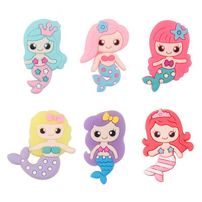 10pcs Rubber Cute Mermaid Patches Miniature DIY Hairbow Flat Back Embellishment