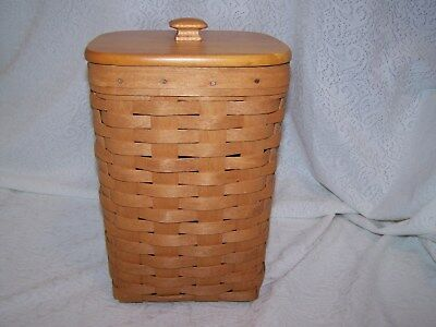 1992 LONGABERGER CLASSIC STAIN  MINI WASTE LARGE SPOON BASKET  + protector + lid