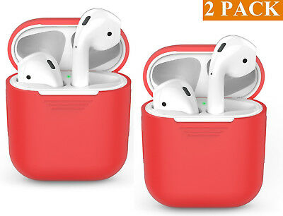2 Pack RED Protective Silicone Skin For AirPods Apple Airpod Charging Case NEW**