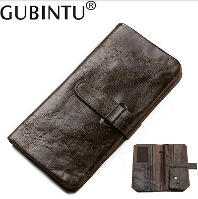cb3d8052e46a Men Leather Cowhide High Capacity Clutch Wallet Bifold Coin Card Long Purse  New