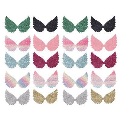 20pcs 65mm Glitter Angel Wing Appliques Single Sided Glitter Fabric DIY Patches