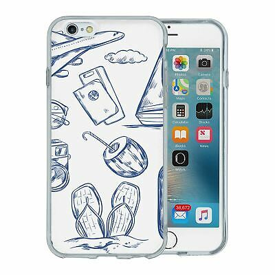 For Apple iPhone 6 6S Silicone Case Travel Holiday Pattern - S4750